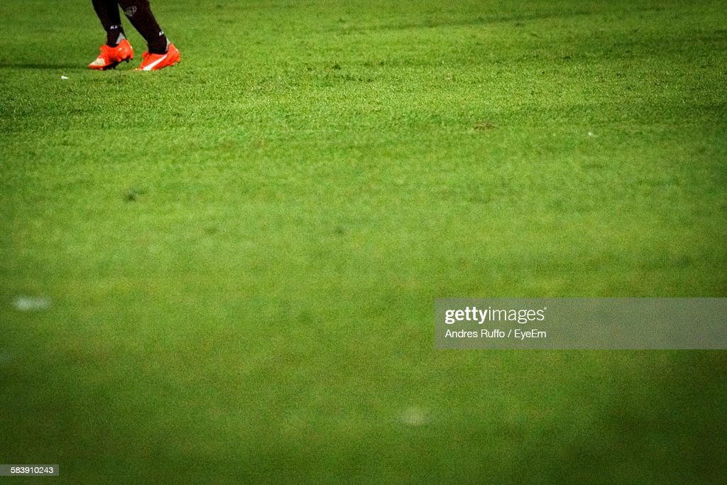 Low Section Of Soccer Player On Field : Stock Photo