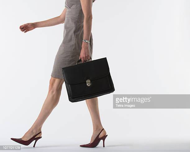 Low section of woman holding briefcase