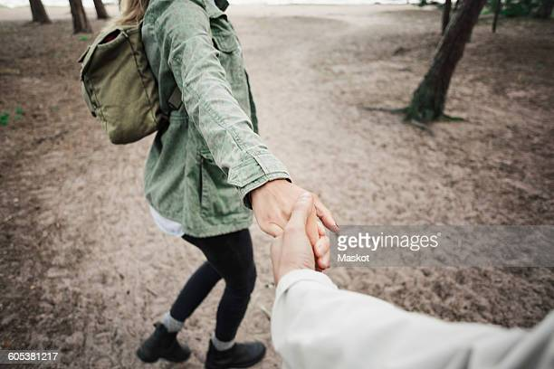 Low section of woman holding mans hand in forest