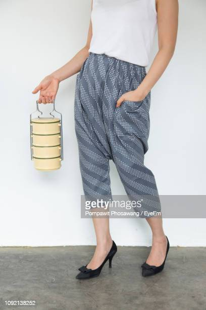 low section of woman holding tiffin box against wall - tiffin box photos et images de collection