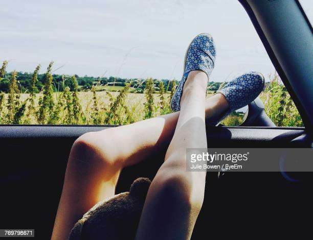Low Section Of Woman In Car