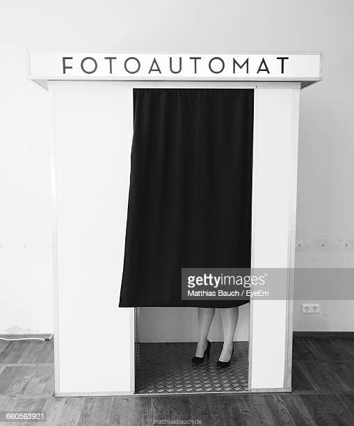 Low Section Of Woman In Photo Booth