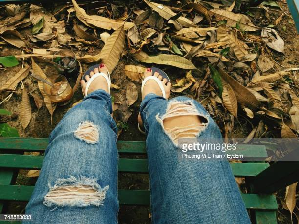 Low Section Of Woman On Autumn Leaves