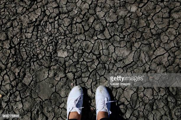 low section of woman standing cracked land - extreme terrain stock pictures, royalty-free photos & images