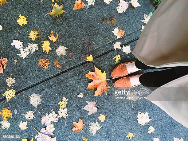 Low Section Of Woman Standing On Footpath With Autumn Leaves