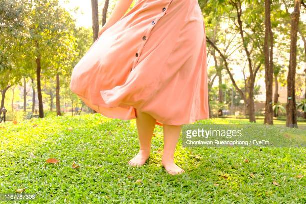 Low Section Of Woman Standing On Grass Land