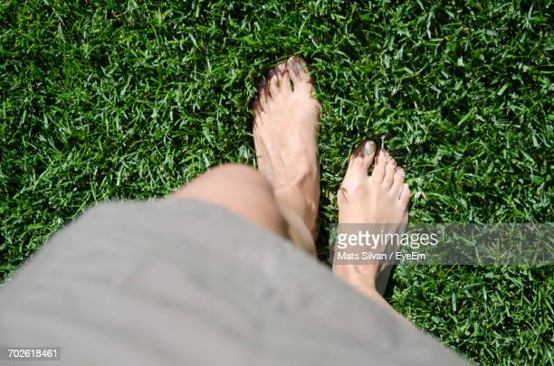Low Section Of Woman Standing On Green Grass
