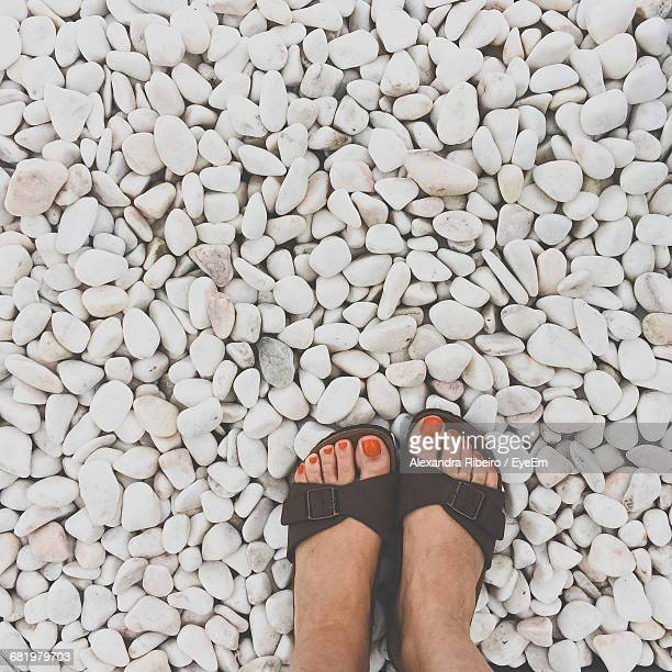 Low Section Of Woman Standing On White Stones