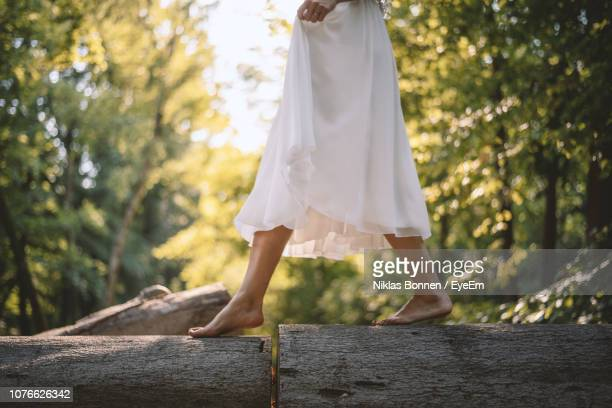 low section of woman walking on fallen trees in forest - sezione inferiore foto e immagini stock