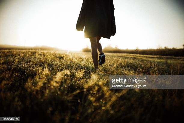 low section of woman walking on field against clear sky during sunset - parte inferior imagens e fotografias de stock