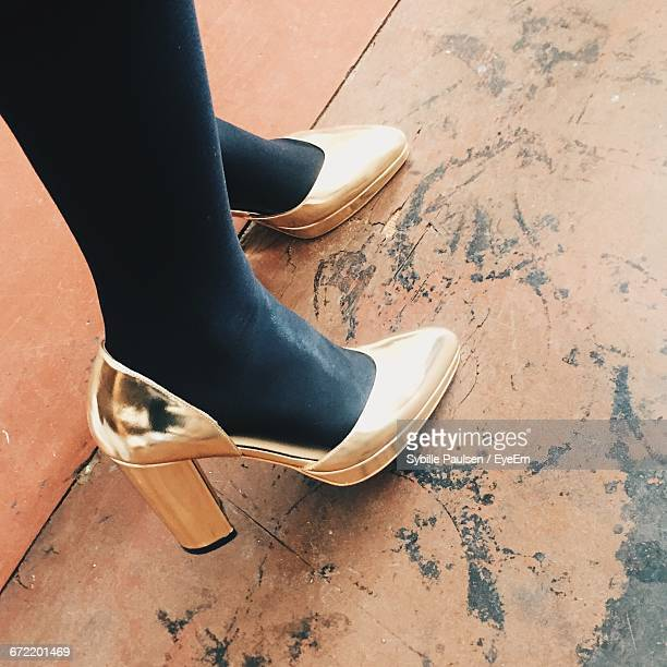 Low Section Of Woman Wearing Gold High Heels