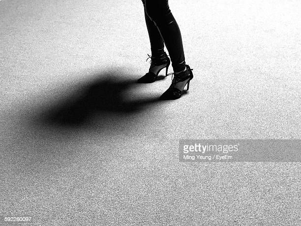 Low Section Of Woman Wearing High Heels Standing On Floor