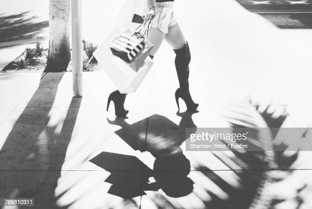 Low Section Of Woman Wearing High Heels While Holding Shopping Bags
