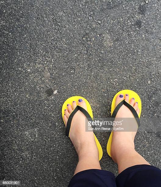 Low Section Of Woman Wearing Sandal