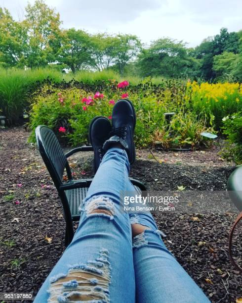 low section of woman wearing torn jeans and shoes on field - ripped jeans stock photos and pictures