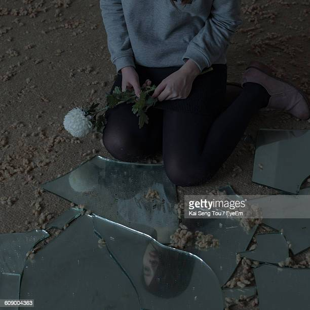 Low Section Of Woman With Flower Sitting By Broken Mirror