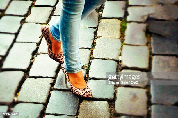 low section of woman with leopard print shoes walking on cobblestone street - leopard print stock pictures, royalty-free photos & images