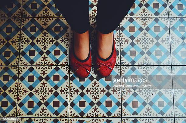 low section of woman with red shoes standing on tiled floor - zuzana janekova imagens e fotografias de stock