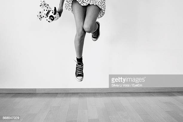 Low Section Of Woman With Toy On Mid-Air At Home