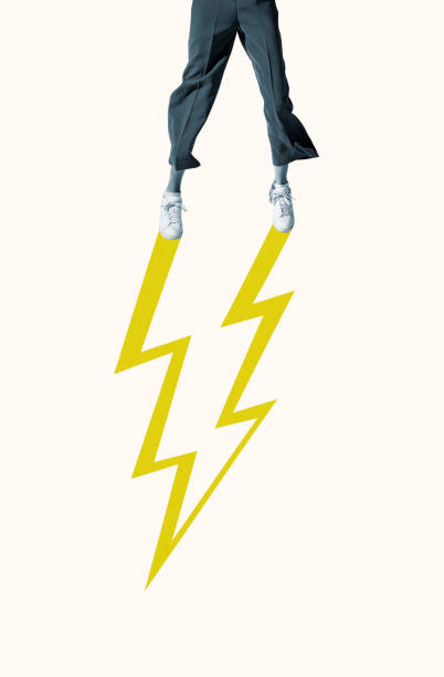 Low section of woman with yellow lightning