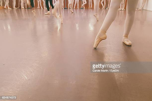 Low Section Of Women Learning Ballet At Dance Studio