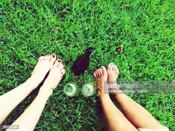 Low Section Of Women On Grass