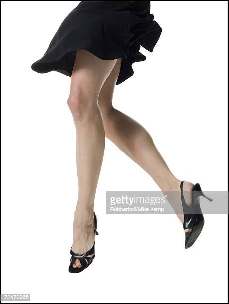 Low section view of a young woman's legs