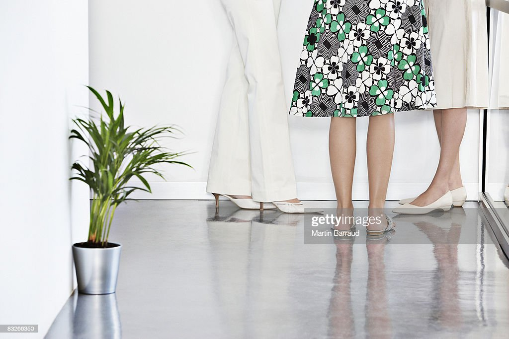 Low section view of three businesswomen talking : Stock Photo