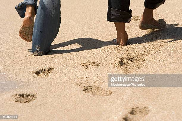 Low section view of two people walking on the beach