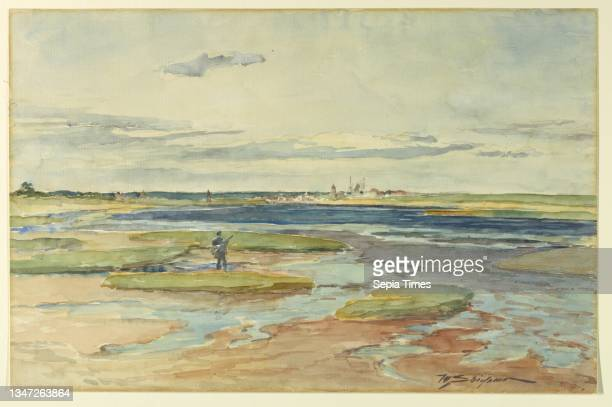 Low Tide, Annisquam, Walter Shirlaw, American, b. Scotland, 1838–1909, Brush and watercolor, black crayon on paper, Figure in foreground, standing on...