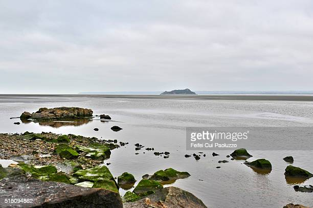 Low tide at Mont Saint-Michel of Normany region in France