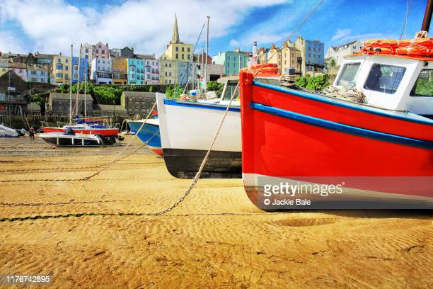 low tide at tenby - wales stock pictures, royalty-free photos & images