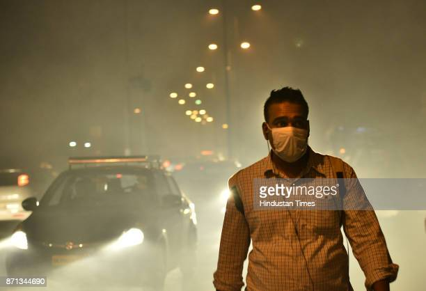 Low visibility due to smog at Lodhi road on November 7 2017 in New Delhi India Delhi woke up to a thick brown haze this morning eyes smarting and an...