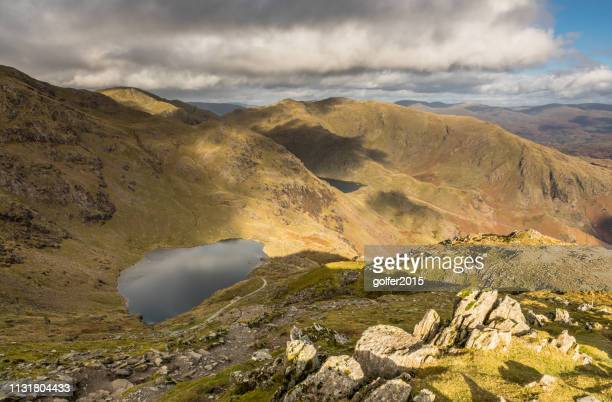low water - coniston old man - lake district - lake district autumn stock pictures, royalty-free photos & images