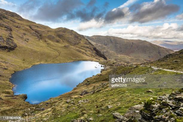 low water - coniston old man - lake district - english lake district stock pictures, royalty-free photos & images