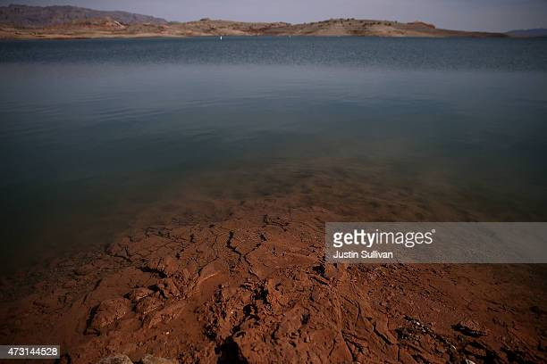 Low water levels are visible at Lake Mead near the abandoned Echo Bay Marina on May 12 2015 in Lake Mead National Recreation Area Nevada As severe...