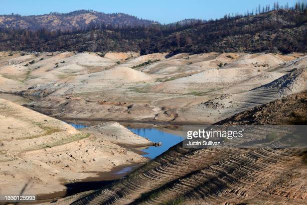 Low water levels are visible at Lake Oroville on July 22, 2021 in Oroville, California. As the extreme drought emergency continues in California,...