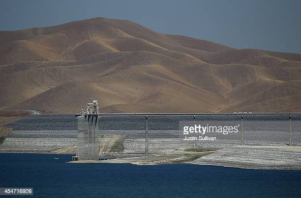 Low water levels are visible at the San Luis Reservoir on September 5, 2014 in Gustine, California. As California suffers through a third straight...