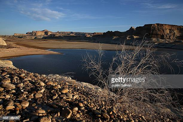 Low water levels are visible in a section of Lake Powell that used to be under water on March 30 2015 near Big Water Utah As severe drought grips...