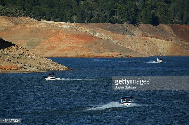 Low water levels are visible on the banks of Shasta Lake on August 30 2014 in Redding California As the severe drought in California continues for a...