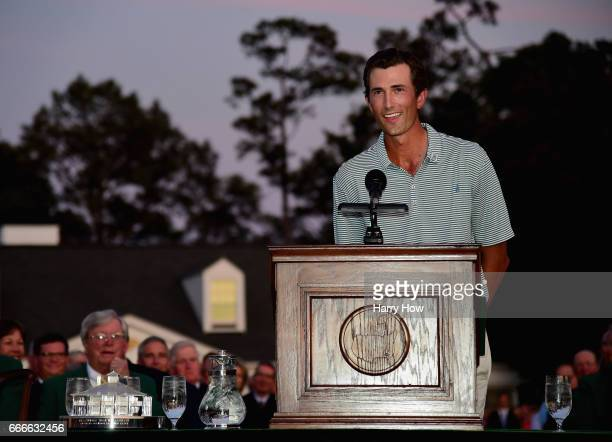 LowAmateur Stewart Hagestad of the United States speaks during the Green Jacket ceremony after Sergio Garcia of Spain won in a playoff during the...