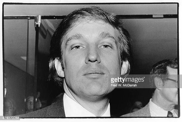 Lowangle closeup of American businessman Donald Trump as he attends an event to mark the start of construction of New York Convention Center New York...