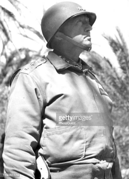Lowangle portrait of American military commander Lieutenant General General George S Patton Tunesia 1943