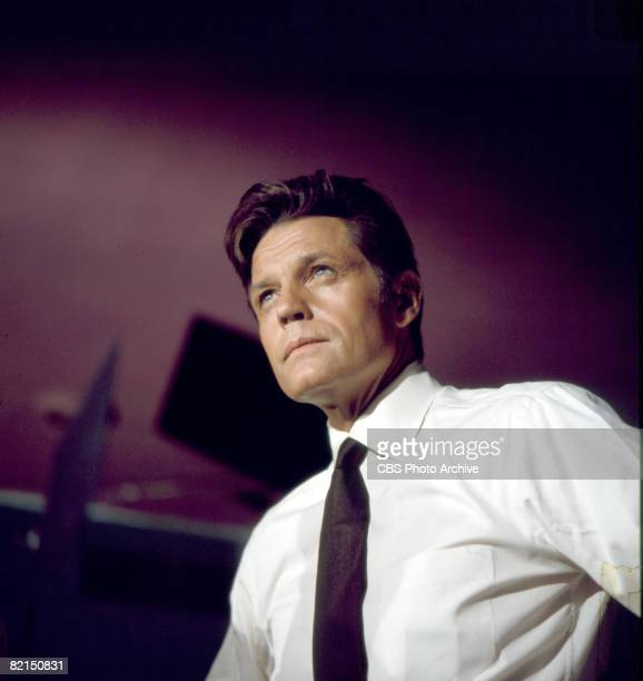 Lowangle promotional portrait of American actor Jack Lord in character as Steve McGarrett from the television police crime drama 'Hawaii FiveO' 1977