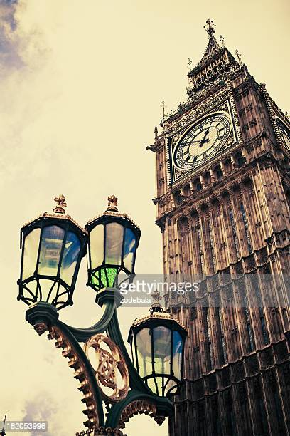 Low-angle shot of London's Big Ben in vintage tone