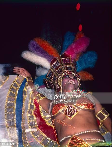 Lowangle view of a costumed dancer at the Cabaret Tropicana Havana Cuba January 29 1983