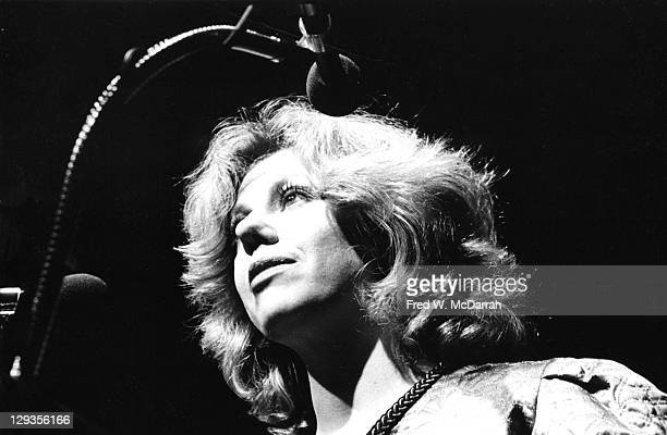 Lowangle view of American author Erica Jong as she introduces a recipient at the American Book Awards at the Seventh Regiment Armory New York New...