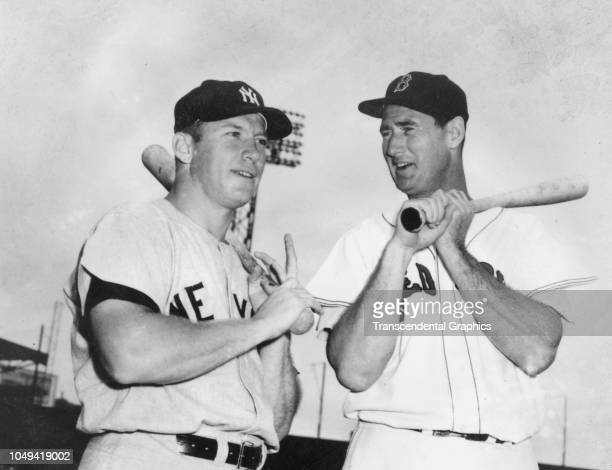 Lowangle view of American baseball players Mickey Mantle and Ted Williams as they talk together in Fenway Park Boston Massachusetts 1958