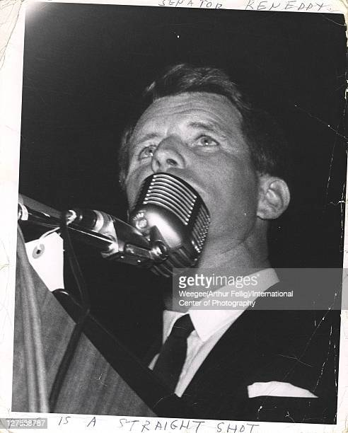 Lowangle view of American politician US Attorney General Robert F Kennedy as he delivers a speech early to mid 1960s Photo by Weegee/International...
