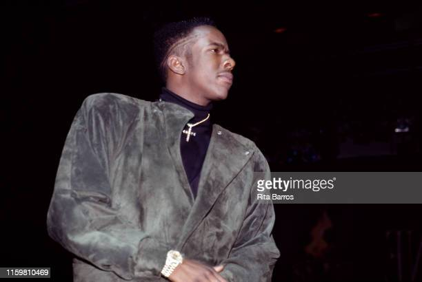 Lowangle view of American singer and rapper Bobby Brown at Harlem's Apollo Theater New York New York February 9 1990
